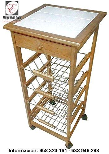 Mueble Gestion Carrito Frutero Verdulero con 4 cestas y Cajon cubertero España Peninsula y Baleares: Amazon.es: Hogar