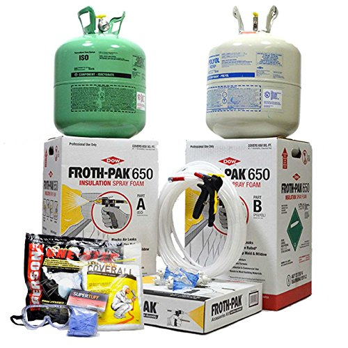 (Dow Froth Pak 650, Spray Foam Insulation Kit, Class A fire Rated, Closed Cell Foam, Covers 650 sq ft (1 inch Thick) with Personal Protection Kit (Respirator, Goggles, Gloves &)
