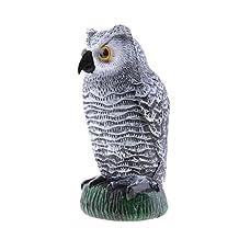 MonkeyJack Realistic Owl Decoy Bird Crow Scarer Scarecrow Weed Pest Control Decor 26cm