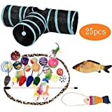 WERTYCITY Cat Toys Variety Pack -25 Pieces for Kitty, Including 3 Way Tunnel with Ball, Teaser Wand, Interactive Feather Toy, Fluffy Mouse, Crinkle Balls and etc, Great for Puppy, Kitten, Rabbit