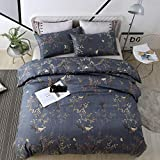 WeiWy Textile Queen Duvet Cover Set for Kids & Adults - 3 Piece(Without Comforter Inside) - Luxury Soft Microfiber - Dark Blue and Gold Floral Pattern