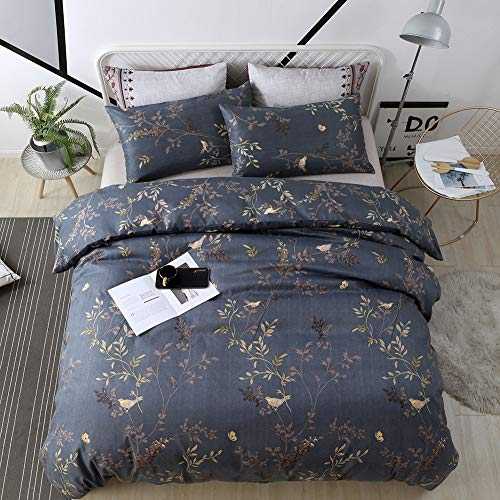 WeiWy Textile King Duvet Cover Set - 3 Piece(Without Comforter Inside) - Luxury Soft Microfiber - Dark Blue and Gold Floral Pattern (Duvet Cover Harry Potter)