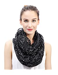 Lina & Lily Constellation Star Print Women's Infinity Loop Scarf (Black)
