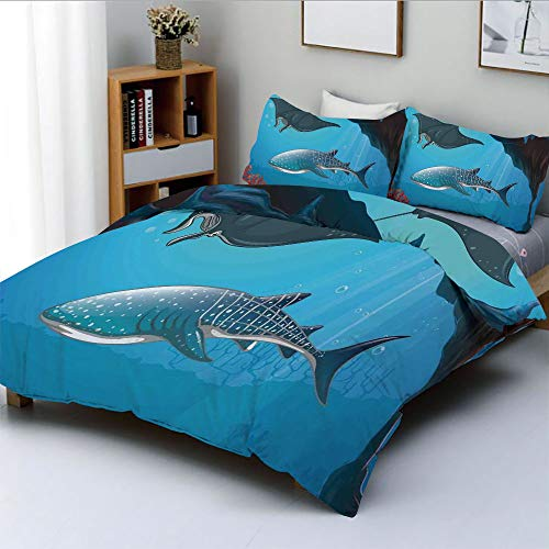 - Duplex Print Duvet Cover Set Twin Size,Shark Deep Water Stingray with Coral Reefs Algae Rocky Cave Exotic CartoonDecorative 3 Piece Bedding Set with 2 Pillow Sham,Blue Grey,Best Gift For Kids & Adult