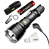 SKYBEN Klarus XT12GT CREE LED XHP35 HI D4 LED 1600 Lumens 18650 Tactical Rechargeable Flashlight with 18650 Battery,USB Charging,Holster,O-ring and USB Light (XT12GT(New Version))