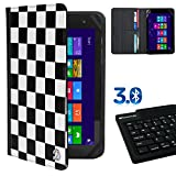 Deluxe Travel Portfolio White Checkers For Skytex Skypad 7 / Sony Xperia Z3 8 / Sylvania SDVD / Tagital TAG /A Series/ TabletExpress Dragon Touch 7 8 + Bluetooth Silicone Keyboard