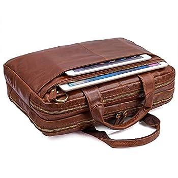 Image of Multi-function Premium Leather Briefacase 14 15.6 16 Inch Laptop Bag,Vintage Simple Business Handbag Shoulder Bag For Men Briefcases