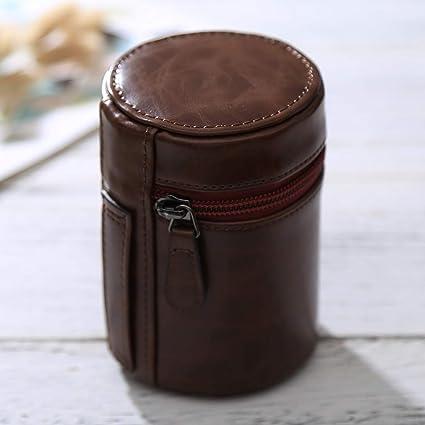 Cámara accesorios / bolsas y cinturones / mochilas Sunyifan pequeña caja de lente cremallera cuero de la PU