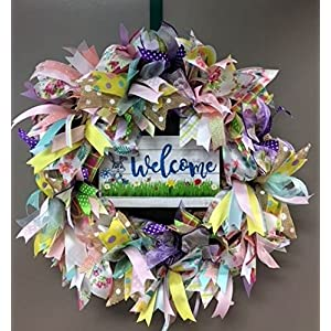 Spring or Easter Welcome Burlap Wreath. Lots of Sparkle, Super Cute and Whimsy 1