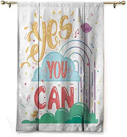 SONGDAYONE Home Roman Curtain Quotes Decor Collection Block Light Yes You Can Cheerful Encouragement Birds Singing Musical Notes Keys Image Print,W42 x L72 Blue Yellow Purple