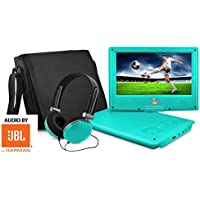 Ematic 9 inch AUDIO BY JBL Teal Portable DVD Player with Matching Headphones and Bag AUDIO BY JBL HARMAN JB902TL