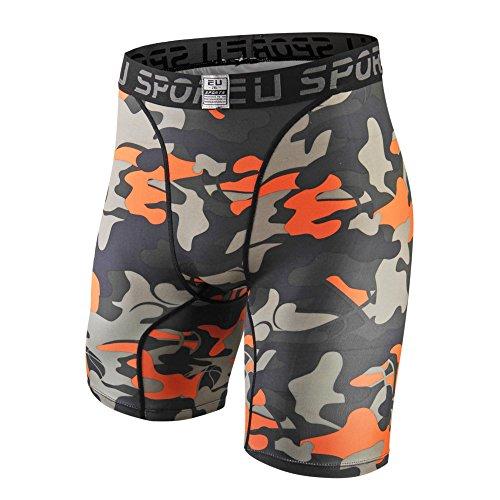 Camo Base (EU Men's Compression Shorts Running Tights Base Layer(Camo Orange XL/Tag 3XL))