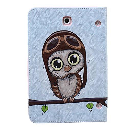 Trumpshop Smartphone Carcasa Funda Protección para Samsung Galaxy Tab S2 8.0 Pulgadas (T710,T715) + Mariposas Verdes + PU Cuero Caja Protector Billetera Choque Absorción pájaro lindo