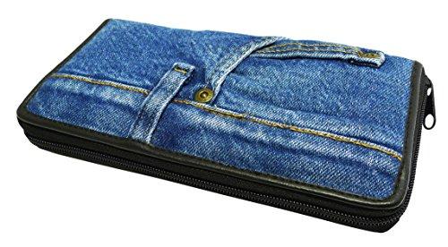 (Bijoux De Ja Women Blue Denim Money Zip Around Wallet Wristlet Purse Clutch)
