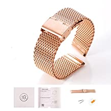 KR-NET Stainless Steel Strap Metal Watch Band Bracelet For Pebble Time Round 14mm (Milanese Mesh/ Rose Gold)