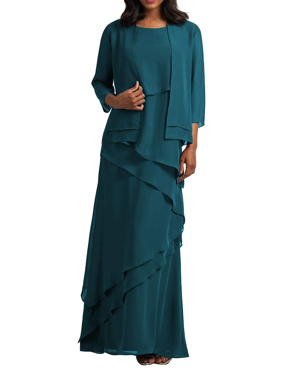 Mother of The Bride Dresses with Jacket Chiffon Prom Dress Plus Size Formal  Evening Gowns Tiered Teal US 20W