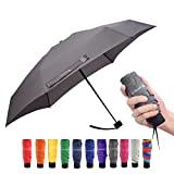 Ke.movan Travel Compact Umbrella Windproof Mini Sun & Rain Umbrella Ultra Light Parasol - Fits Men & Women, Gift Choice (2-Grey)