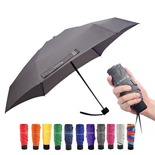 Travel Compact Umbrella Small Mini Umbrella for Backpack, Purse, Pocket - Fits Adults & Kids(Grey)