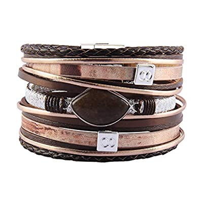 AZORA Leather Cuff Bracelet for Women Agate Braided Strands Bracelets Bangle Jewelry with Magnetic Clasp