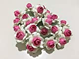 25 pcs White Pink Colors Mulberry Paper Flower 25 mm Scrapbooking Wedding Doll House Supplies Card