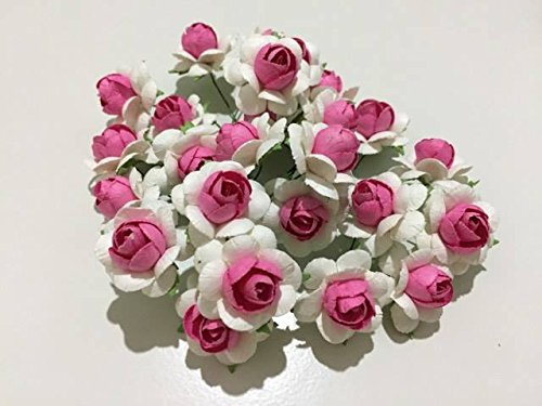 25 pcs White Pink Colors Mulberry Paper Flower 25 mm Scrapbooking Wedding Doll House Supplies Card by Thai Decorated