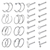 D.Bella Surgical Stainless Steel 20G 8mm Nose Rings Hoop L Shaped Bone Screw Nose Rings Studs 32pcs Nose Piercing Jewelry Set