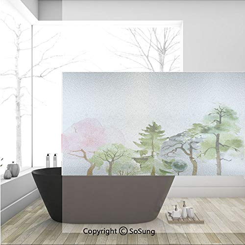 3D Decorative Privacy Window Films,Colorful Forest with Oak and Willow Growth Purity Nobility in Mother Earth Theme Art,No-Glue Self Static Cling Glass film for Home Bedroom Bathroom Kitchen Office 36