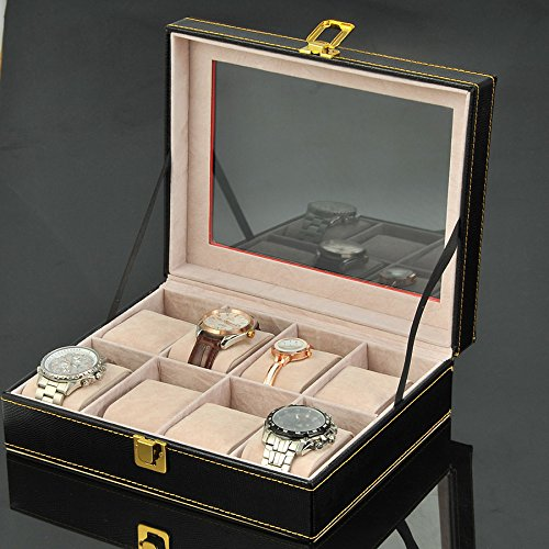 Watch Box Wood 8 Slots Watch Jewelry Display Storage Boxes with Glass Top and Removal Storage Pillows with Lockable Keys,A-L25.5W20.5H8.5cm by Watch Boxes (Image #1)