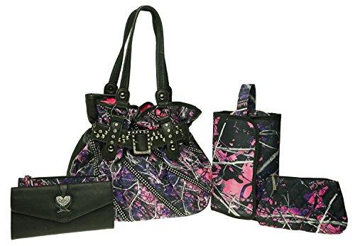 (Muddy Girl Print Studded Buckle Handbag Rollup Cosmetic Bag Wings Rhinestone Trifold Wallet - 4 Piece Set)