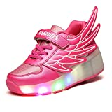 VMATE?Pink Kid Boy Girl LED Light Up Wings Roller Wheel Shoes Sneaker Sport Shoes Dance Boot