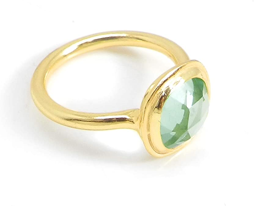 Awesome Green Quartz Sterling Silver Overlay 5 Grams Ring Size 7.5 US Aqua Chalcedony