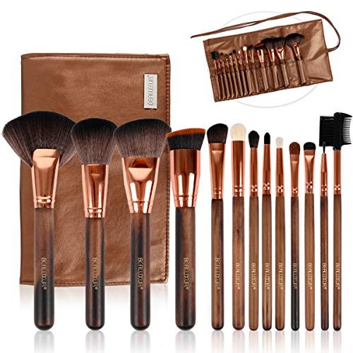 Makeup Brush Set, BEALUXUR 13pcs Makeup Brushes Premium Synthetic Bristles Powder Foundation Blush Concealers Eyeliner Lip Eyeshadow Brushes Kit with Travel Makeup Bag