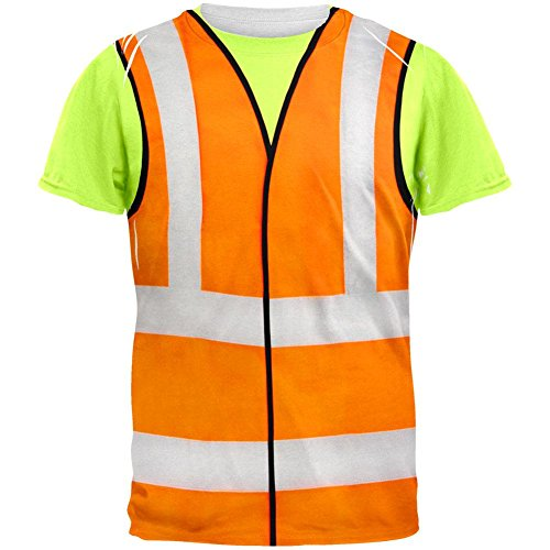 Old Glory Halloween Road Worker Construction Vest Costume All Over Adult T-Shirt - X-Large -