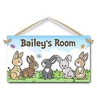 Bunnies Rabbit Pets Personalised Door Sign for Kids Hanging Plaque
