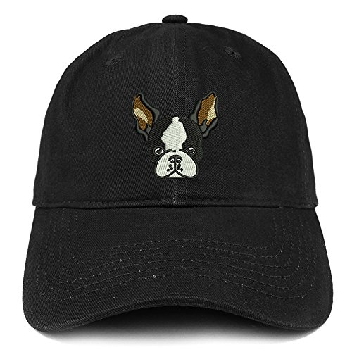 Trendy Apparel Shop Boston Terrier Embroidered Brushed Cotton Dad Hat Ball Cap - Black