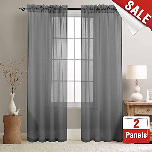 Grey Sheer Curtain Panels for Living Room 84 inch Length Rod Pocket Bedroom Voile Window Curtain Set (1 Pair, Gray)