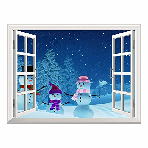 Cartoon Snowmen Outside of the Window on Christmas Eve Peel and Stick Wall Mural Sticker