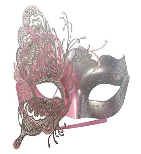 Mysterious Venetian Butterfly Shiny Butterfly Lady Masquerade Halloween Mardi Gras Party Mask Pink]()