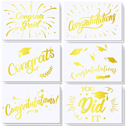 Supla 54 Sets Congratulations Cards Congrats Cards Grad Card Graduation Cards Bulk Greeting Cards Blank Folded Cards College High School Nurse Grad Cards with Envelopes Stickers - 6 Gold Foil -