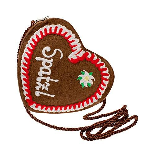 Custodia panpepato a forma di cuore a forma di cuore rosso Alpenflüstern Spatzl DTA02700035 20 x 2 cm borsa donna borsa a tracolla (L x A x P), marrone