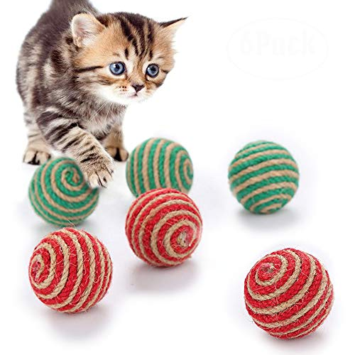 Cat Toys Interactive Ball, Matacrafter Eco-Friendly Sisal Toy Balls Pet Playing Chasing Rolling Ball Dog Kitten Toys Indoor or Outdoor Colorful Funny Scratch Toy Gifts for Pet(Set of 6)