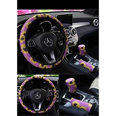 Ranxizy Neoprene Cloth Washable Sunflower Steering Wheel Cover Handbreak Cover Gear Shift Cover for Universal Car 1 Set 3 Pcs(Purple): Automotive