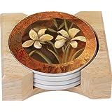 CounterArt Henna Dragon Design Round Absorbent Coasters in Wooden Holder, Set of 4