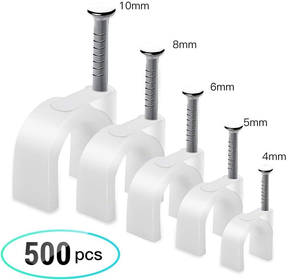 AGPTEK 500Pcs Grapas para Cables Redondo (5 Tamaño - 4mm, 5mm, 6mm, 8mm, 10mm) con Clavo de Acero, Blanco