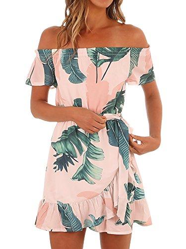 (Gemijack Womens Hawaiian Dresses Off The Shoulder Floral Short Sleeve Strapless Summer Beach Dress Pink)