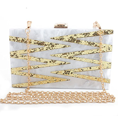 Evening Girl's Evening bag Acrylic Purse Women's White Design Flada Sequin Clutch 5YxBnAFx0