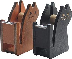Loghot 2Pack Tape Dispenser-Vintage Wooden Cat Shape Desktop Tape Cutter (Black & Brown)