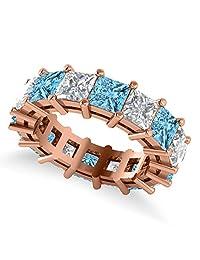 14k Gold Princess Cut Diamond and Blue Topaz Eternity Wedding Band