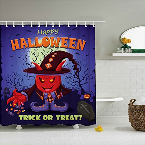 Happy Halloween Red Devil Shower Curtains,Polyester Waterproof Shower Curtains 12 Hooks Included-69