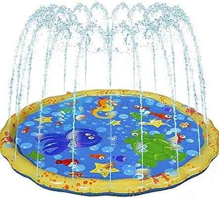 Winthai Juguete de Agua al Aire Libre para Niños, Juego de Salpicaduras, Splash Pad, Aspersor de Juego, Juegos de Agua Al Aire Libre para Actividades Familiares Fiesta Playa Jardín, 100cm, Amarillo: Amazon.es: